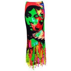Jean Paul Gaultier face print silk jersey florescent plastic sequins skirt
