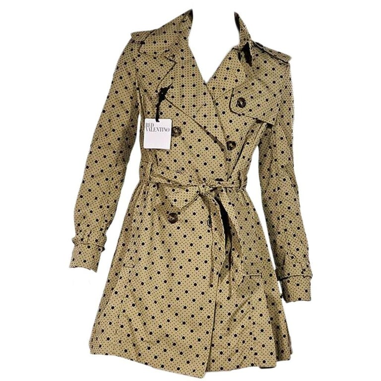 Tan & Black Red Valentino Polka-Dot Trench Coat