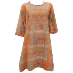 Vintage Hand Woven Caftan Tunic With Animal Motif