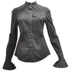 Superb 2014 Alexander McQueen Black Stud Collar Tuxedo Shirt 38 (Itl)