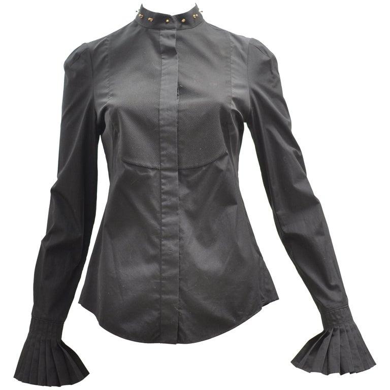 2014 Alexander McQueen Black Stud Collar Tuxedo Shirt 38 (Itl)