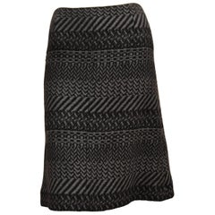 Chanel A/W 2000 Collection Black / Grey Wool Tweed Skirt 36Fr