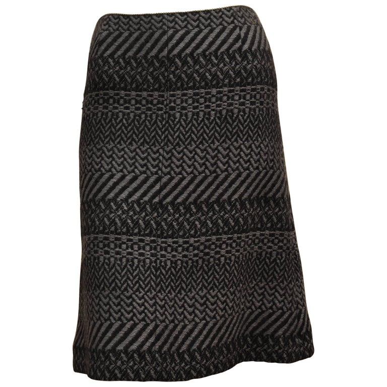 Chanel Collection Black / Gray Wool Tweed Skirt, A / W 2000