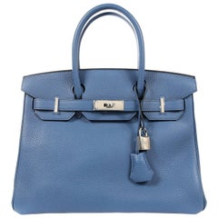 Hermès Blue Azur Togo 30 cm Birkin Bag with Palladium