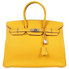 Hermès Soleil Yellow Togo 35cm Birkin Bag with Palladium