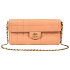 Chanel Pink Square Quilted Leather East West Flap Bag