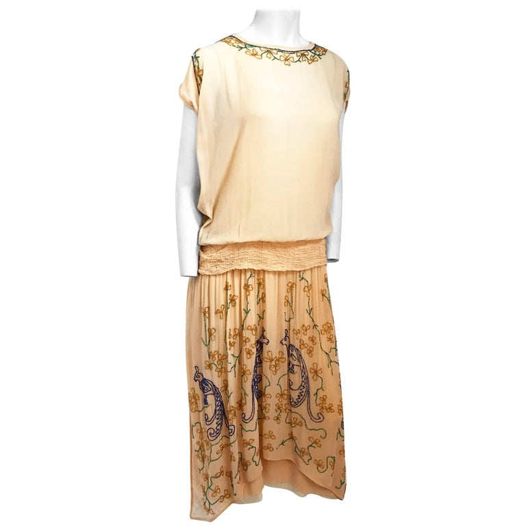 Peach Glass Beaded Drop waist Dress, 1920s