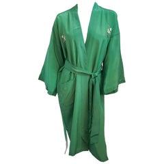 1960's Green Embroidered Kimono