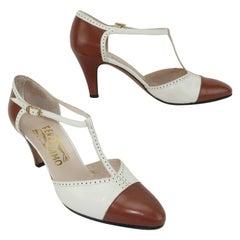 1980's Ferragamo Leather T-Strap Spectator Shoes Sz 7 1/2