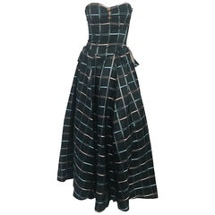 1945 Strapless Plaid Evening Dress