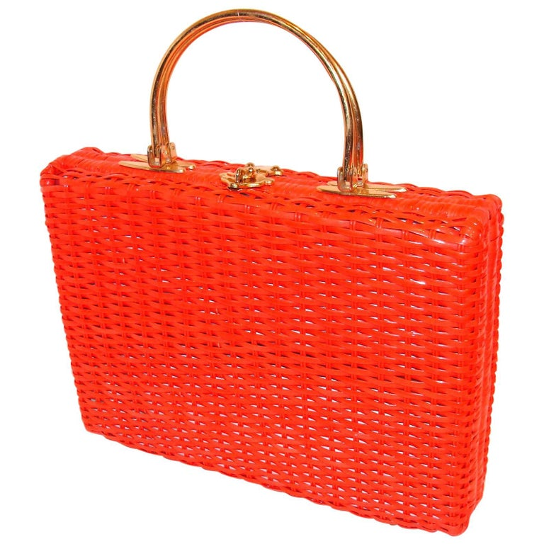Oversized Orange Rectangular Structured Vintage Purse