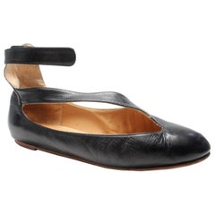 Norma Kamali Leather Ballet Flat with Ankle Strap