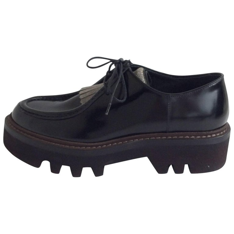 Brunello Cucinelli Black Leather Platform Oxfords w/ Microbeads Sz36.5 (Us6.5)