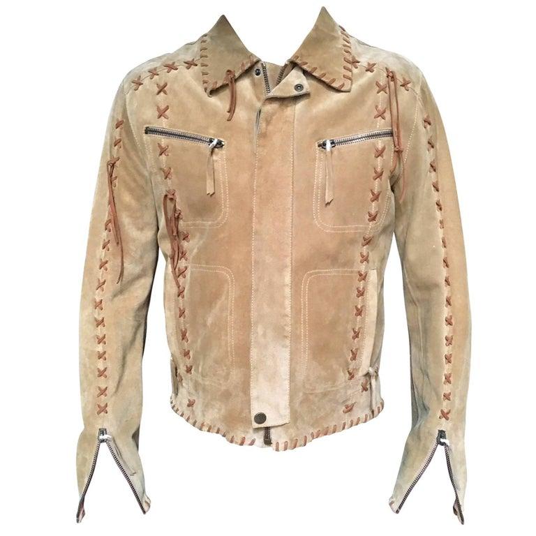Dolce & Gabbana Buffalo Tribe calf suede leather jacket