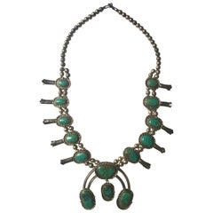 Navajo or Zuni Morency Turquoise stone Squash Blossom Necklace