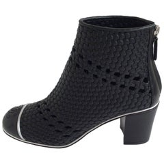 Chanel Black Woven Leather Booties With Patent Leather Toe Sz37.5 (Us7.5)