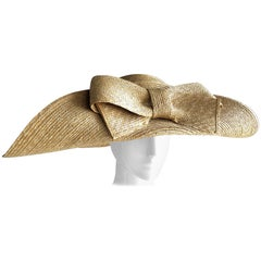 Helene Berman Wide Folded Brim and Large Bow Natural Straw Hat , 1980s