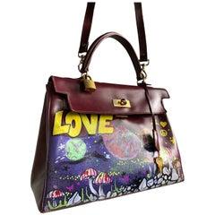 Merlot Leather Bag With Custom LOVE Graffiti Art, 1950s