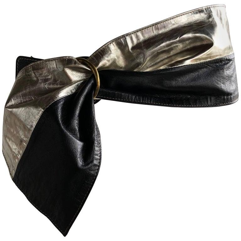 1980s Italian Silver & Black Leather Wide Fan Belt