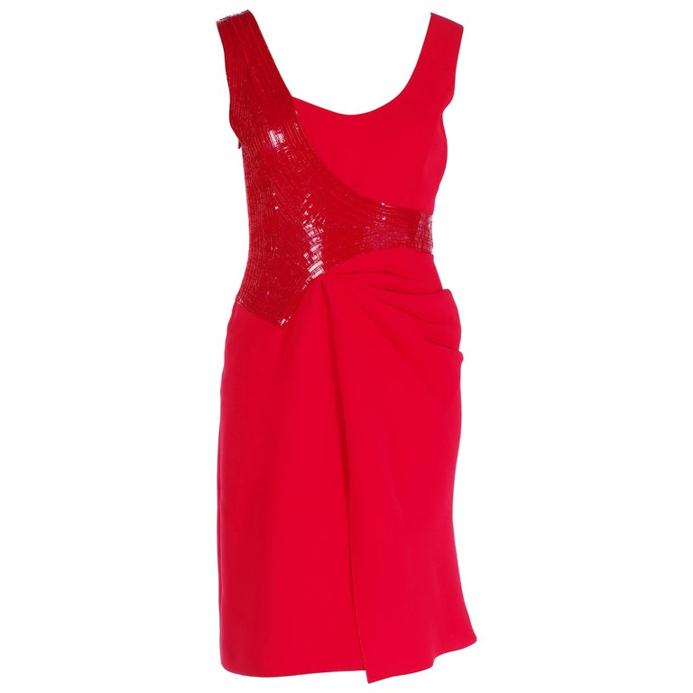 New VERSACE EMBELLISHED RED DRESS