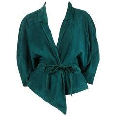 1980's JEAN-CLAUDE JITROIS emerald green draped suede jacket