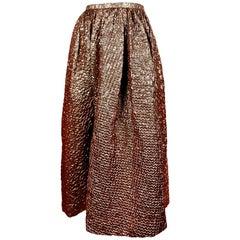 1980's BILL BLASS iridescent bronze cloque skirt