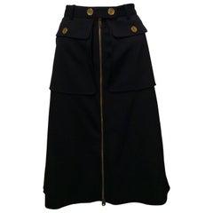 Black Alexander McQueen Skirt w/ Gold Buttons and Full Zippered Front Sz44(Us 8)