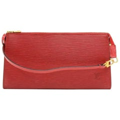 Louis Vuitton Pochette Accessories Red Epi Leather Hand Bag