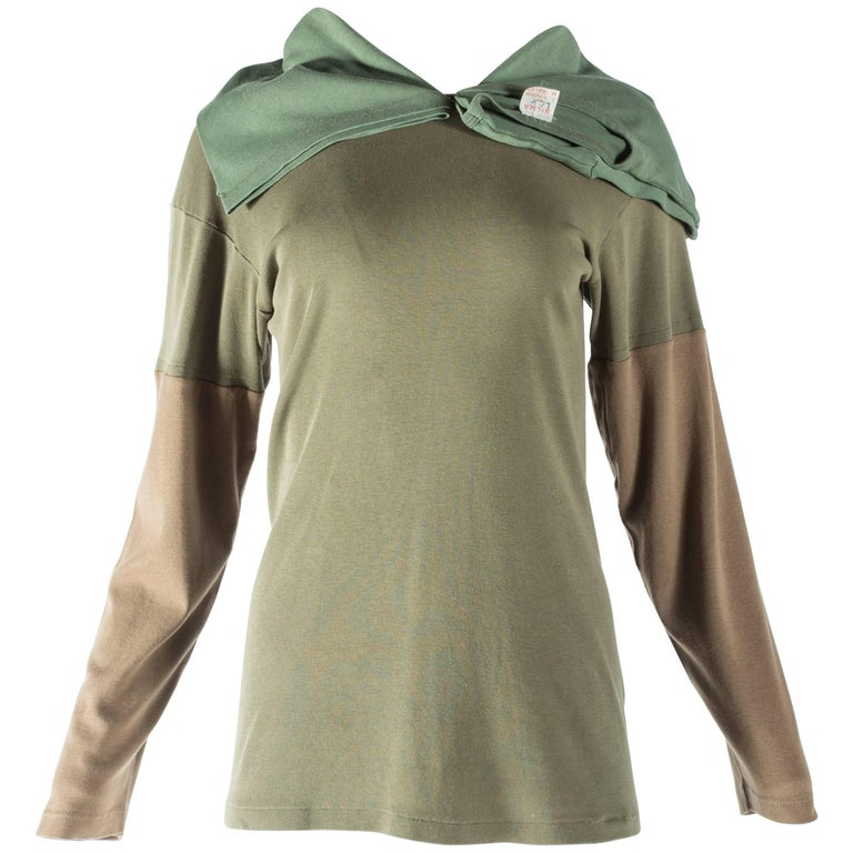 Margiela khaki green sweater reconstructed with vintage garments, A/W 2002