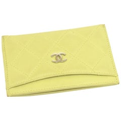 Chanel Lime Green Leather Card Case