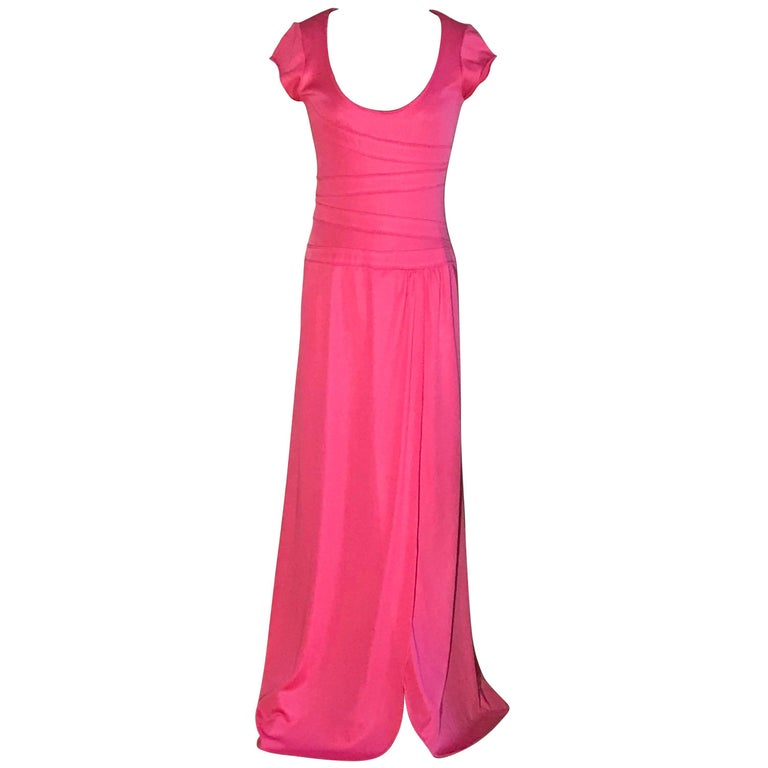 Stephen Burrows Pink Jersey Scoop Neck Maxi Dress Gown with Lettuce Edge, 1970s