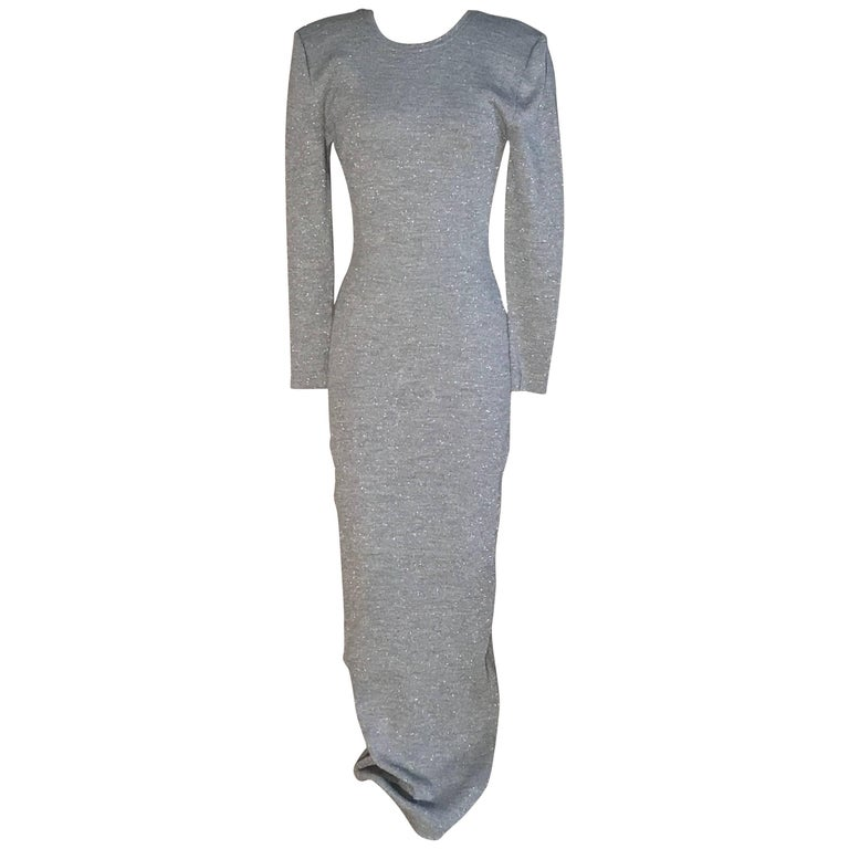 Patrick Kelly Silver Grey Metallic Bodycon Knit Maxi Dress with Scoop Back, 1980