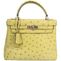Hermes lime green 25 Ostrich Leather Kelly Bag