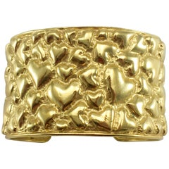 1980's Yves Saint Laurent Gold-Plated Heart Cuff Bracelet