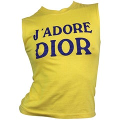 Christian Dior Logo T-Shirt in Yellow from AW 2001 Size 4 US
