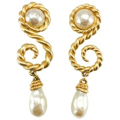 Chanel 1990 Runway Look Massive Arabesque and Baroque Pearl Earrings