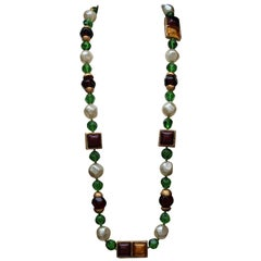 Chanel green red and pearly beads large sautoir necklace, 1991