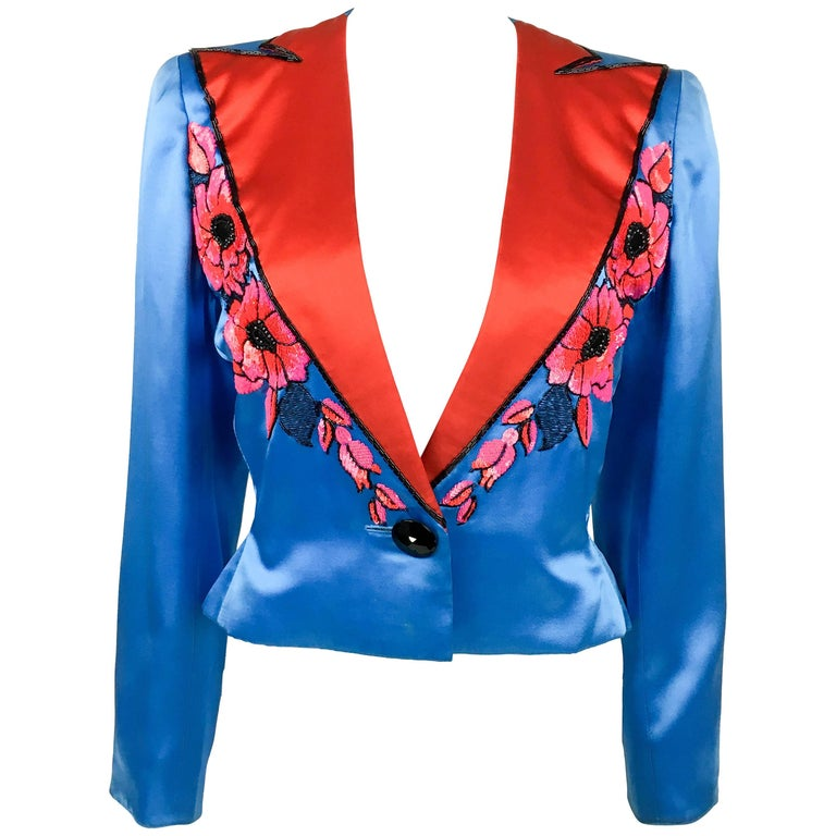 Dior by Marc Bohan Haute Couture Silk Satin Beaded Jacket, 1983