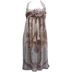2000s Chanel silk chiffon summer dress in brown and beige colors