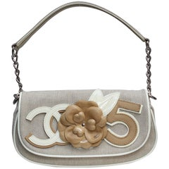 2000s Chanel leather and canvas baguette bag