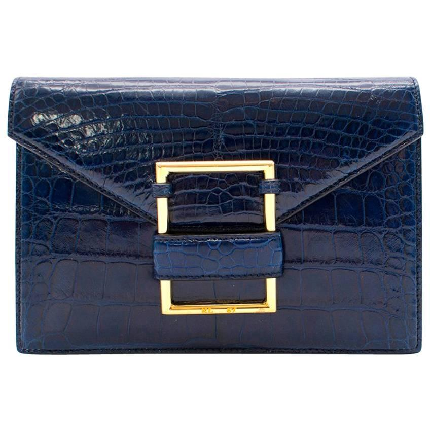 Ralph Lauren Navy Crocodile Leather Clutch Bag ELQEccp9M0