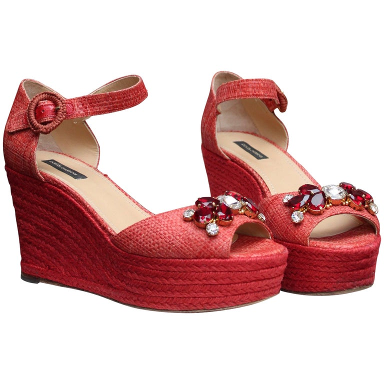 Dolce&Gabbana beautiful jewel sandals in red raffia