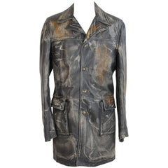 Trussardi Double Breasted Brown Marbled leather Italian Trench Coat, 1980s
