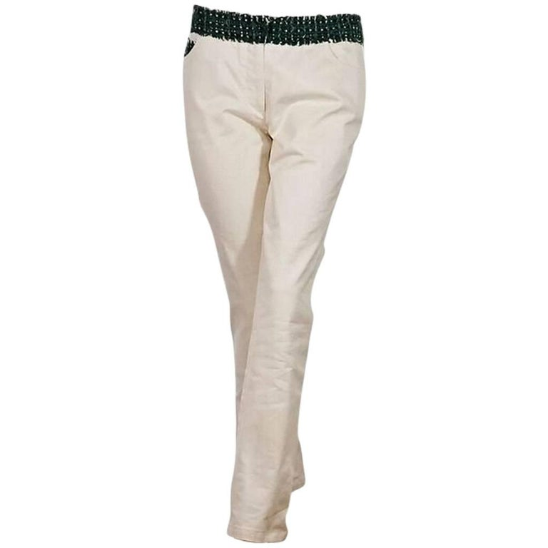 White & Green Chanel Tweed-Trimmed Jeans