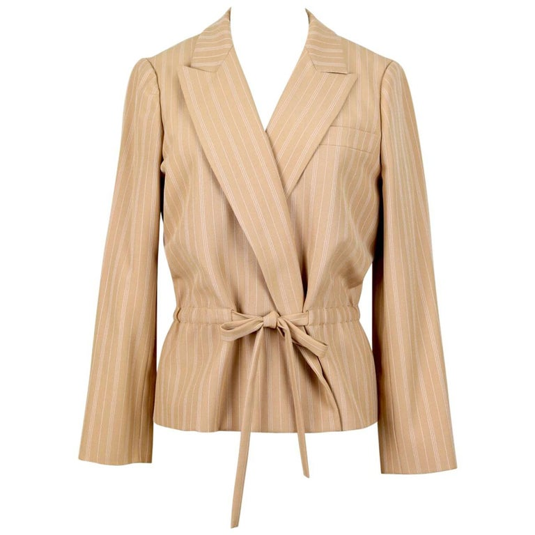 Christian Dior S/S 1976 Haute Couture Marc Bohan Tan Wool Pinstriped Jacket