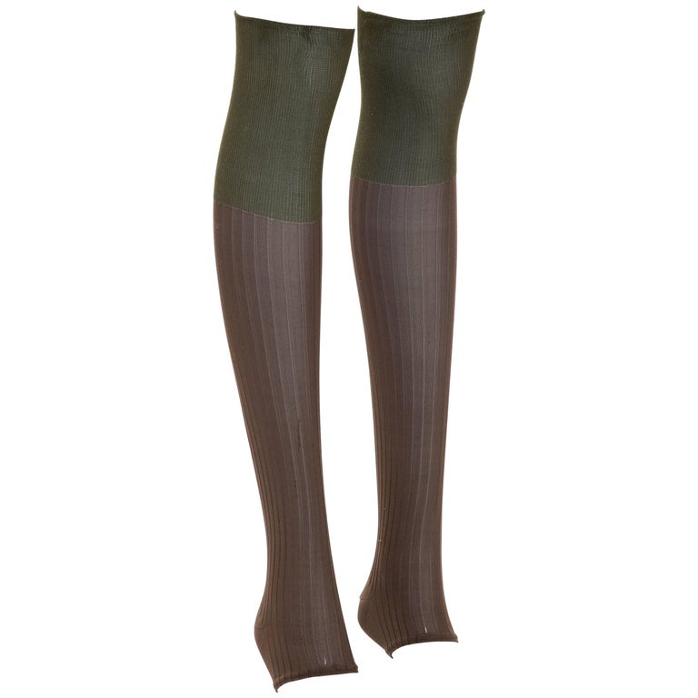 Prada Runway Footless Two-Tone Knee High Socks, Fall 2007