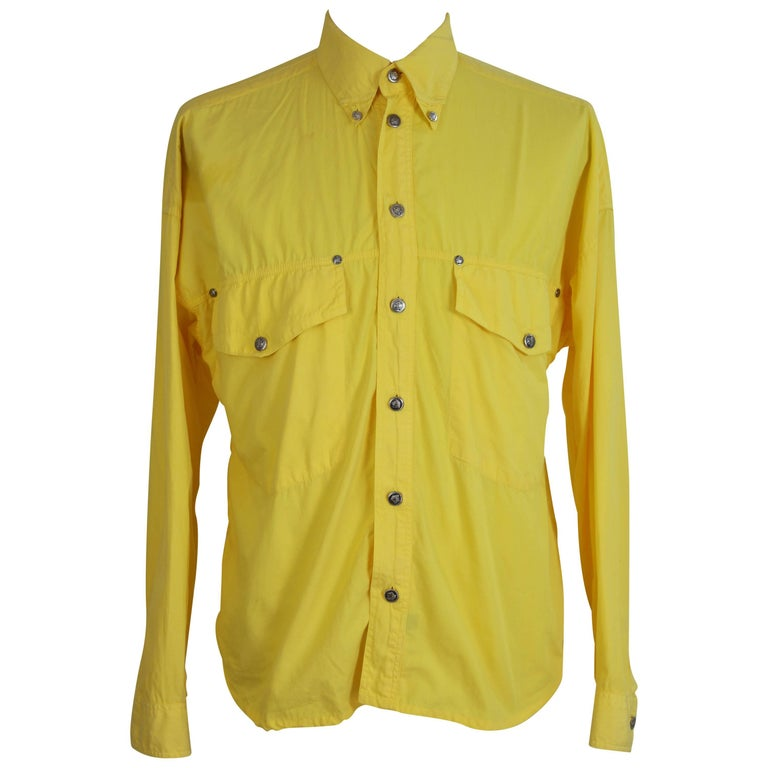 Gianni Versace Couture Cowboy Yellow  Italian Shirt, 1990