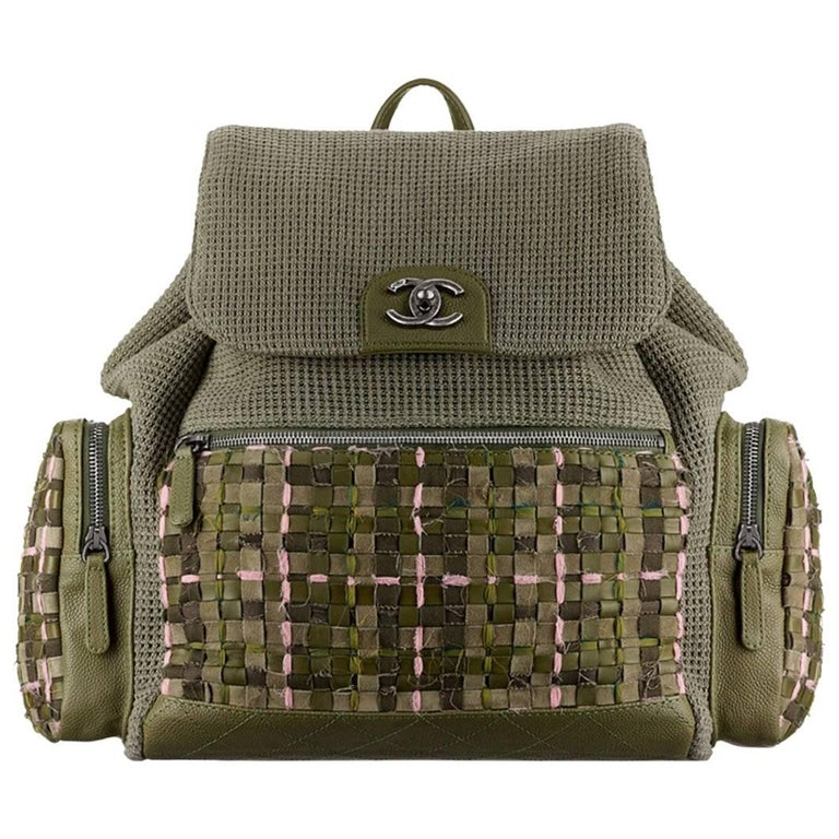 Chanel Backpack Pocket Bag in Woven Tweed and Canvas