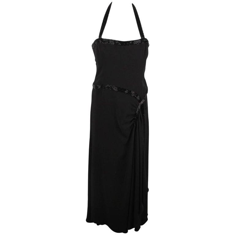 Valentino Black Silk Halterneck Gown Evening Dress