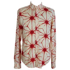 Jean Paul Gaultier Beige Red Spotted Psychedelic Shirt, 1990s